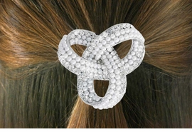 "<Br>                    LEAD & NICKEL FREE!!<br>  W18264HJ - GENUINE AUSTRIAN CRYSTAL<Br>     AND FAUX PEARL BEAD ""TRIPLE LOOP""  <BR> PONYTAIL HOLDER FROM $5.63 TO $12.50"