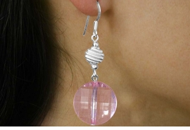 <Br>             LEAD & NICKEL FREE!!<Br>  W18280NE - TRANSPARET PINK<Br>FACETED DISC & SWIRLY-SPHERE<Br>  DROP NECKLACE & EARRING SET<Br>           FROM $10.13 TO $22.50
