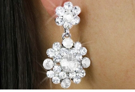 <BR>            LEAD & NICKEL FREE!!<bR> W18327E - BRILLIANT AUSTRIAN<Br>CRYSTAL DOUBLE-FLOWER DROP<Br> EARRINGS FROM $3.94 TO $8.75