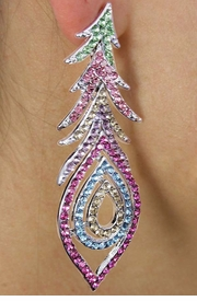 "<Br>                      LEAD & NICKEL FREE!!<BR>   W18334E - GORGEOUS MULTI-COLOR<Br>""PEACOCK TAIL"" RHINESTONE EARRINGS<Br>                    FROM $9.00 TO $20.00"