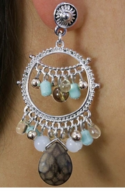 <Br>               LEAD & NICKEL FREE!!<Br>    W18338E - SILVER TONE CIRCLE<Br>      EARRINGS WITH PEACH COLOR<Br>BEADS & TURQUOISE FAUX STONES<Br>              FROM $8.44 TO $18.75