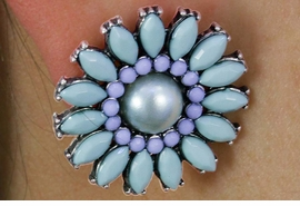 <Br>              LEAD & NICKEL FREE!!<BR>W18342E - TURQUOISE FACETED DAISY <BR>   EARRING FROM $4.50 TO $10.00
