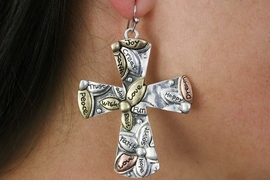 <Br>              LEAD & NICKEL FREE!!<BR> W18370E - ANTIQUE SILVER, COPPER, <BR>           AND GOLD TONE CROSS <BR> EARRINGS FROM $7.31 TO $16.25