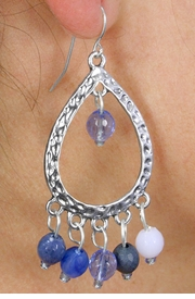 <Br>               LEAD & NICKEL FREE!!<Br>W18400E - SILVER TONE HAMMERED  <Br>     TEARDROP EARRINGS ACCENTED <BR>       WITH BLUE FACETED BEADS<br>                FROM $5.63 TO $12.50