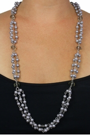 <Br>                 LEAD & NICKEL FREE!!<BR>      W18404NE - GENUINE HAND-CUT <Br>      SMOKEY GRAY AUSTRIAN CRYSTAL <br>  AND FAUX GRAY PEARL BEAD NECKLACE<Br>    & EARRING SET FROM $7.85 TO $17.50