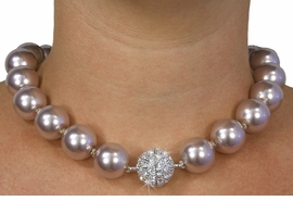 <Br>              LEAD & NICKEL FREE!!<Br>     W18420NE - COCOA COLOR FAUX <Br> PEARL AND AUSTRIAN CRYSTAL NECKLACE <Br> & EARRING SET FROM $18.56 TO $41.25