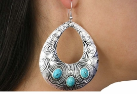 <Br>               LEAD & NICKEL FREE!!<BR>      W18431E - ANTIQUE SILVER TONE <br> EARRINGS ACCENTED WITH TURQUOISE <BR>         STONES FROM $6.19 TO $13.75