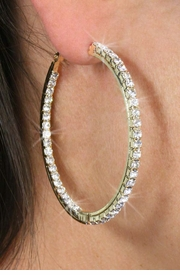 <Br>                 LEAD & NICKEL FREE!!!<BR> W18469E - 2 INCH POLISHED GOLD TONE <br>   AND AUSTRIAN CRYSTAL EARRINGS<BR>                 FROM $4.50 TO $10.00