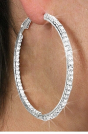 <Br>                 LEAD & NICKEL FREE!!!<BR> W18471E - 2 1/2 INCH POLISHED SILVER  <br>        TONE AND AUSTRIAN CRYSTAL <BR>    EARRINGS FROM $5.06 TO $11.25