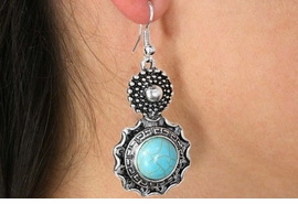 <Br>               LEAD & NICKEL FREE!!<BR>      W18477E - ANTIQUE SILVER TONE <br> EARRINGS ACCENTED WITH TURQUOISE <BR>         STONE FROM $3.60 TO $8.00
