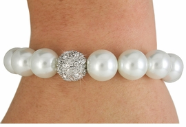 <Br>              LEAD & NICKEL FREE!!<Br>   W18491B - WHITE FAUX PEARL <Br>     AND SILVER TONE AUSTRIAN <BR>        CRYSTAL BEAD STRETCH<Br>  BRACELET FROM $6.19 TO $13.75