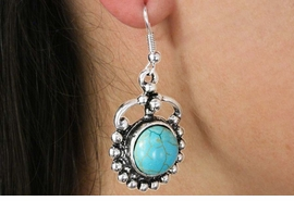 <Br>               LEAD & NICKEL FREE!!<BR>      W18516E - ANTIQUE SILVER TONE <br> EARRINGS ACCENTED WITH TURQUOISE <BR>         STONE FROM $2.81 TO $6.25