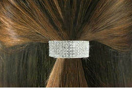 <Br>                LEAD & NICKEL FREE!!<br> W18535HJ - CLEAR 6 ROWGENUINE  <BR>       AUSTRIAN CRYSTAL PONYTAIL <BR>         HOLDER FROM $3.94 TO $8.75