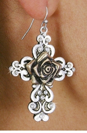 <Br>              LEAD & NICKEL FREE!!<BR> W18558E - ANTIQUE TWO TONE  <BR> FILIGREE ROSE & CROSS EARRINGS <BR>               FROM $7.31 TO $16.25