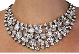 <Br>               LEAD & NICKEL FREE!!<Br>W18689NE - CLEAR FACETED RHINESTONE  <Br>       AND CRYSTAL COLLAR NECKLACE <Br> & EARRING SET FROM $21.13 TO $39.00