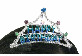 "<Br>                           LEAD & NICKEL FREE!!<Br>              W18729T - MINI BRIGHTLY COLORED<BR>                   GENUINE AUSTRIAN CRYSTAL<Br>                     ""HAPPY BIRTHDAY"" TIARA<BR>              HAIR COMB FROM $7.31 TO $16.25"