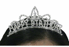 "<Br>                           LEAD & NICKEL FREE!!<Br>              W18739T - SMALL CLEAR CRYSTAL<BR>                   GENUINE AUSTRIAN CRYSTAL<Br>                     ""HAPPY BIRTHDAY"" TIARA<BR>              HAIR COMB FROM $7.31 TO $16.25"