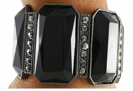 <Br>                  LEAD & NICKEL FREE!!<Br>     W18822B - VINTAGE HEMATITE TONE &  <Br>       JET BLACK FACETED FAUX STONE <BR> STRETCH BRACELET FROM $16.90 TO $37.50