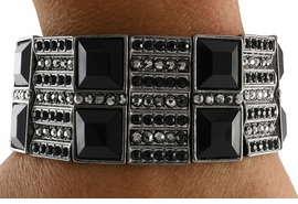 <Br>                  LEAD & NICKEL FREE!!<Br>     W18823B - VINTAGE HEMATITE TONE &  <Br>       JET BLACK FACETED FAUX STONE <BR> STRETCH BRACELET FROM $20.25 TO $45.00