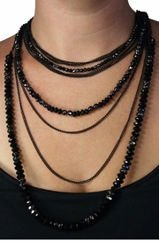 <Br>             LEAD & NICKEL FREE!!<Br>      W18827NE - BLACK CHAIN WITH <BR>          JET BLACK AND  HEMATITE <BR>        FACETED STONE NECKLACE<bR>  EARRING SET FROM $20.25 TO $45.00