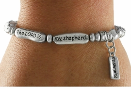 "<Br>            LEAD & NICKEL FREE!!<Br>     W18834B - ""THE LORD IS MY <br>SHEPHERD"" PSALMS 23 STRETCH <br>   BRACELET FROM $5.06 TO $11.25"