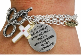 "<Br>                LEAD & NICKEL FREE!!<BR>      W18864B - ""IF YOU HAVE FAITH<BR>  AS SMALL AS A MUSTARD SEED...""<bR>       AND CROSS CHARM TOGGLE<Br>       BRACELET FROM $3.94 TO $8.75"
