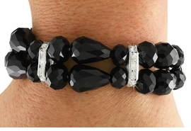 <Br>           LEAD & NICKEL FREE!!<Br> W18886B - DOUBLE ROW JET BLACK <Br>      HAND CUT CRYSTAL STRETCH <Br>  BRACELET FROM $7.85 TO $17.50