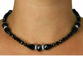 <Br>           LEAD & NICKEL FREE!!<Br>     W18889NE - JET BLACK HAND <Br>CUT CRYSTAL NECKLACE EARRING SET<Br>           FROM $12.40 TO $27.50