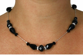 <Br>           LEAD & NICKEL FREE!!<Br>     W18894NE - JET BLACK HAND <Br>CUT CRYSTAL NECKLACE EARRING SET<Br>           FROM $7.85 TO $17.50