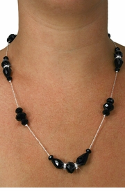 <Br>           LEAD & NICKEL FREE!!<Br> W18895NE - LONG JET BLACK HAND <Br>CUT CRYSTAL NECKLACE EARRING SET<Br>           FROM $10.58 TO $22.50