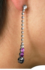 <Br>                         LEAD & NICKEL FREE!!!<BR>W18958E - HEMATITE AND AMETHYST CRYSTAL<br>    WITH CLEAR AUSTRIAN CRYSTAL DANGLING <BR>              EARRINGS FROM $6.75 TO $15.00