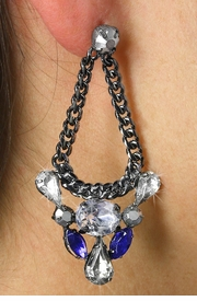 <Br>                                LEAD & NICKEL FREE!!!<BR>W18959E - HEMATITE AND MONTANA SAPPHIRE CRYSTAL<br>            WITH CLEAR AUSTRIAN CRYSTAL DANGLING <BR>                   EARRINGS FROM $6.75 TO $15.00