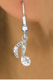 <BR>                       LEAD & NICKEL FREE!!<BR>W18976E - CRYSTAL EIGHTH MUSIC NOTE<Br>          EARRINGS FROM $2.25 TO $5.00