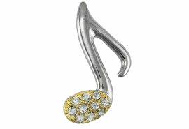 <Br>                      LEAD & NICKEL FREE!!<Br> W18979P - TWO-TONE AUSTRIAN CRYSTAL<br>     MUSIC NOTE PIN FROM $6.75 TO $15.00