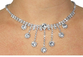 <Br>           LEAD & NICKEL FREE!!<BR>    W19085NE - FACETED CLEAR<Br>     GENUINE AUSTRIAN CRYSTAL<BR>        NECKLACE & EARRING SET<br>            FROM $9.75 TO $18.00
