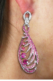 <Br>                  LEAD & NICKEL FREE!!<Br>   W19112E - SILVER TONE ROSE AND<BR>  FUCHSIA GENUINE AUSTRIAN CRYSTAL<Br>    EARRINGS FROM $7.85 TO $17.50
