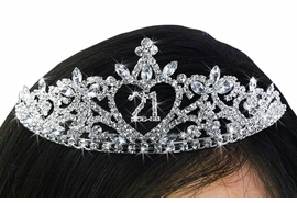 "<Br>          LEAD & NICKEL FREE!!<Br>  W19267T - ""21"" HEART PRINCESS <Br>THE BIG TWENTY ONE / 21ST BIRTHDAY<Br>AUSTRIAN CRYSTAL SET TIARA<Br>       FROM $10.13 TO $22.50"