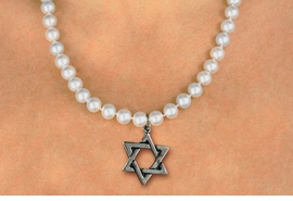 <Br>                     LEAD & NICKEL FREE!! <Br> W19457N - JEWISH STAR OF DAVID <BR> CHARM ON 8MM PEARL BEAD NECKLACE <BR>            FROM $4.73 TO $10.50 �2012