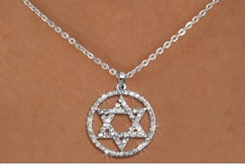 <Br>                     LEAD & NICKEL FREE!! <Br> W19462N - CRYSTAL STAR OF DAVID <BR>PENDANT ON SILVER TONE NECKLACE <BR>            FROM $3.35 TO $7.50 �2012
