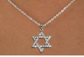 <Br>                     LEAD & NICKEL FREE!! <Br> W19463N - CRYSTAL STAR OF DAVID <BR>PENDANT ON SILVER TONE NECKLACE <BR>            FROM $4.73 TO $6.25 �2012