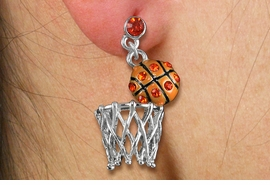 <br>              LEAD & NICKEL FREE!! <Br>W19466E - ORANGE AUSTRIAN CRYSTAL <Br> ACCENTED BASKETBALL EARRINGS <br>       FROM $6.75 TO $15.00  �2012