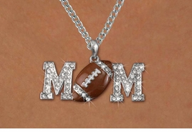 "<BR>     LEAD & NICKEL FREE!!<BR>W19651NE - AUSTRIAN CRYSTAL <BR> FOOTBALL ""MOM"" NECKLACE <BR>   FROM $6.75 TO $15.00 �2012"