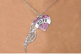 "<Br>               LEAD & NICKEL FREE!! <Br>W19659N - ELEGANT AUSTRIAN CRYSTAL <Br>ACCENTED ANGEL WING PENDANT AND <Br> CRYSTAL ""HOPE"" HEART CHARM <BR>     NECKLACE FROM $7.65 TO $17.00"