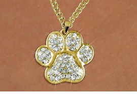 <BR>     LEAD & NICKEL FREE!! <BR>W19682NE - GOLD TONE AND CRYSTAL <BR>LARGE PAW PRINT NECKLACE <BR>   FROM $7.31 TO $16.25 �2012