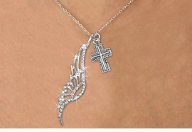 <Br>               LEAD & NICKEL FREE!! <Br>W19684N - ELEGANT AUSTRIAN CRYSTAL <Br>ACCENTED ANGEL WING PENDANT AND <Br>ORNATE SILVER TONE CROSS CHARM & <BR>     NECKLACE FROM $6.19 TO $13.75
