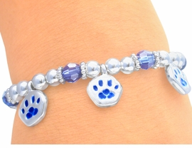 <BR>       LEAD & NICKEL FREE!!<Br>W3118B - CHILDREN'S BLUE<BR>    STRETCH PAW BRACELET<BR>             AS LOW AS $3.90