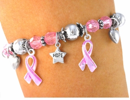 "<bR>           LEAD & NICKEL FREE!!<Br>  W3460B-""HOPE, FAITH, LOVE""<BR>   BREAST CANCER AWARENESS<BR>             STRETCH BRACELET<BR>         FROM $6.75 TO $15.00"
