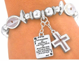 <BR>                LEAD & NICKEL FREE!!<BR>W4038B - INSPIRATIONAL MUSTARD SEED<BR>      CHRISTIAN FISH & DANGLING CROSS<BR> STRETCH BRACELET YOUR LOW PRICE $4.50
