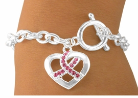 <bR>                 LEAD & NICKEL FREE!!<br>  W5646B - NEW! AUSTRIAN CRYSTAL<br>BREAST CANCER AWARENESS RIBBON<Br>    HEART CHARM TOGGLE BRACELET<br>                 FROM $3.94 TO $8.75