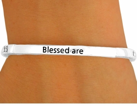"""<Br>                  LEAD & NICKEL FREE!!<BR>    W8712B - POLISHED SILVER TONE<br>           """"BLESSED ARE THE MEEK...""""<Br>   RELIGIOUS SCRIPTURE STACKABLE<br>             STRETCH BRACELET FROM<Br>                        $2.25 TO $5.00"""